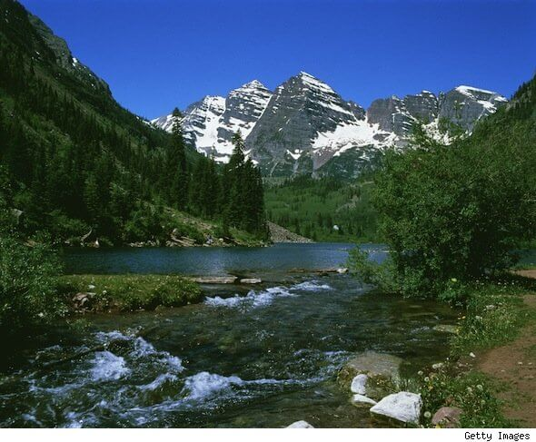 Aspen River and Valley in Springtime