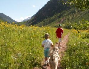Hiking Parent Child and Dog