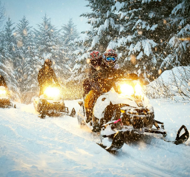 people snowmobiling